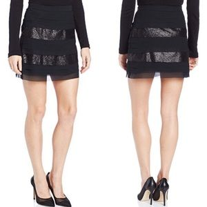 BCBGeneration Sequin Tiered Layered Black Skirt 0